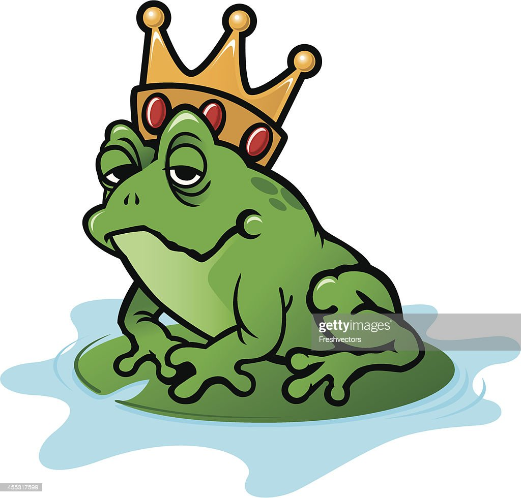 frog with crown on lily pad vector art getty images