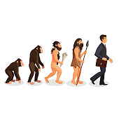 From ape to man standing process isolated. Hominid primates. Homo habilis. Homo erectus. Homo neanderthalensis. Homo sapien. Illustration of human evolution from ancient times till nowadays. Vector