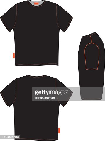 Front And Back Of A Black Tshirt And Black Object Beside Vector ...