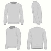 Front, back and side views of blank  hoodie sweatshirt. Isolated on white. Vector fashion design.