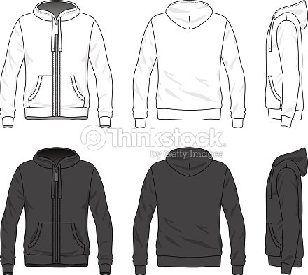 Front Back And Side Views Of Blank Hoodie With Zipper ...