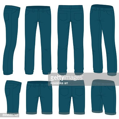 Front, back and side views of blank  jeans : stock vector