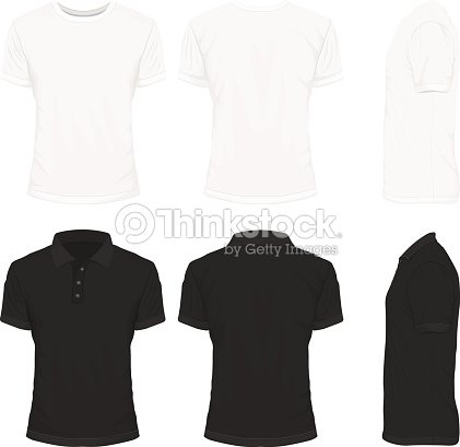 Front Back And Side Views Of White Shirt And Black Shirt Vector ...