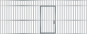 A front view of the bars of a jail cell with iron bars and a door on an isolated background vector eps 10