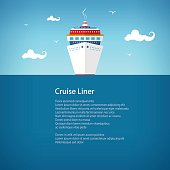 Cruise Ship at Sea, a Front View of the Liner, Travel Concept , Poster Brochure Flyer Design, Vector Illustration