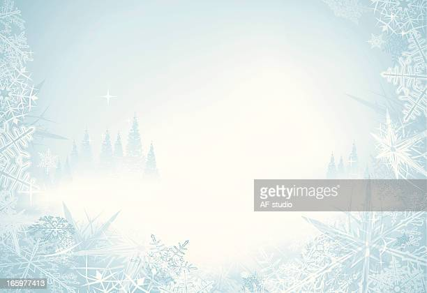 A frosty icy wintery background with long stars