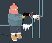A person attempting to unfreeze frozen water pipes with a hair dryer, EPS 8 vector illustration, no transparences