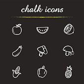 Fruit and vegetables chalk icons set. Vector. Apple, watermelon slice, lemon half, eggplant, broccoli, mushrooms, corn, bell pepper, pineapple