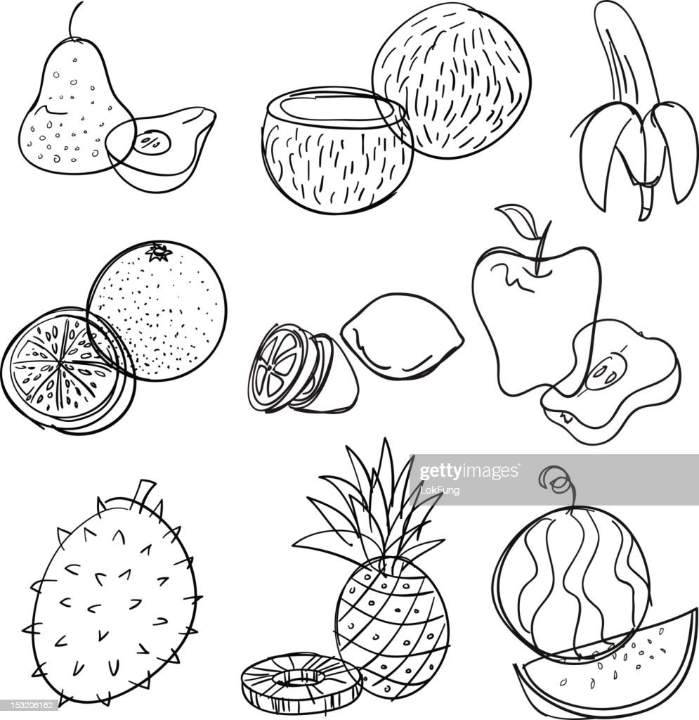 Fruit collection in black and white