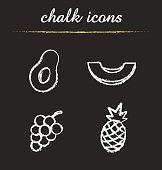 Fruit chalk icons set. Vector. Halved avocado, sliced melon, bunch of grapes, pineapple