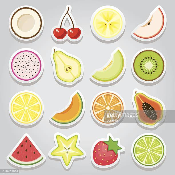 Fruit Sticker Icon Set