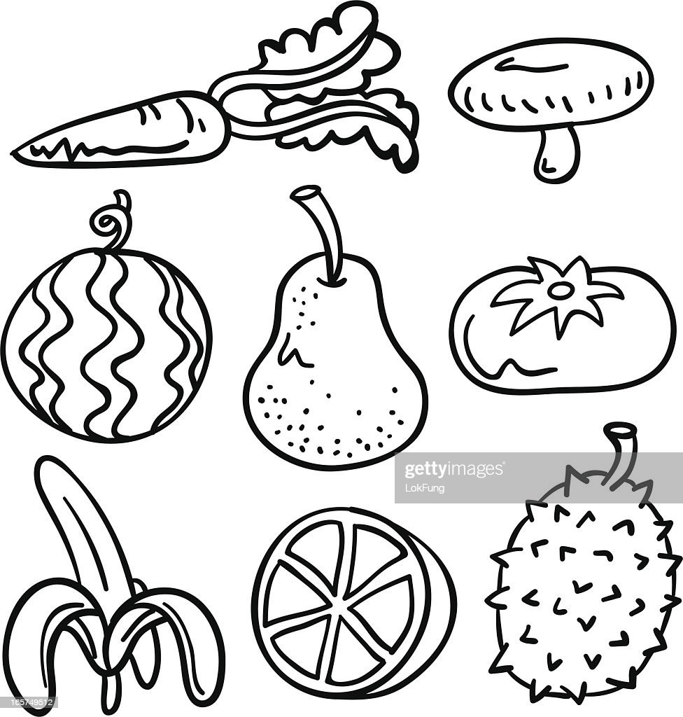 fruit vegetable collection in black and white vector art getty