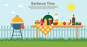 Fruit with wine, barbecue grill, watermelon on the grass, bbq flat illustration. Summer picnic on meadow under sky.