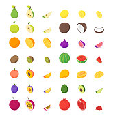 Fruits and Berries 3d Icons Set Isometric View Whole and Slices Raw Ripe Fruit. Vector illustration of Icon