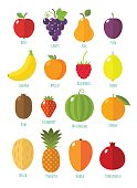 Vector collection of fruits and berries in flat style, including apple, plum, pear, banana, mango, apricot, lemon, pineapple and orange, isolated on white.