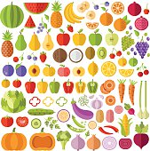 Fruits and vegetables flat icons set. Colorful flat design graphic elements collection for web sites, mobile apps, web banners, infographics, printed materials. Vector icons, vector illustrations