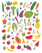 Fruits and vegetables hand draw illustration set. Organic and diet food. Healthy nutrition cartoon isolated elements