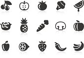 Monochromatic fruits and vegetables related vector icons for your design and application. Raw style. Files included: vector EPS, JPG, PNG.