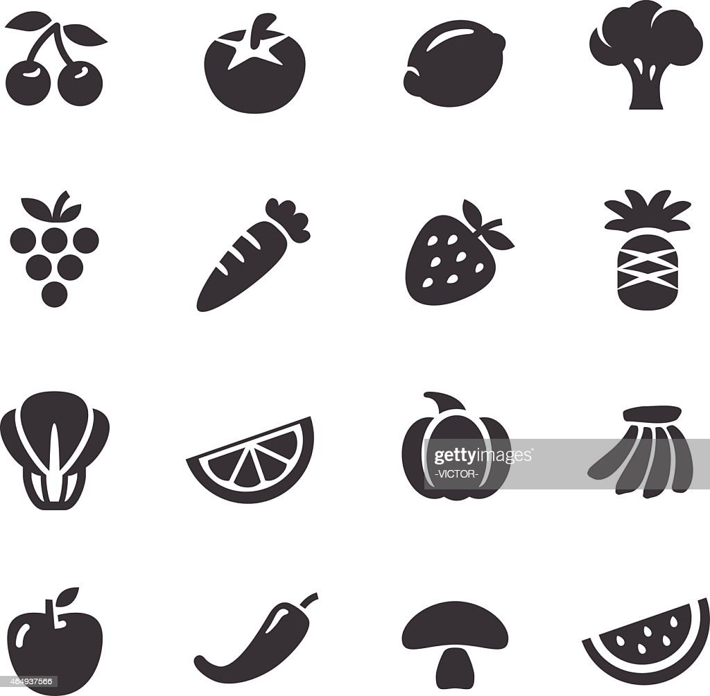 fruits and vegetables icons acme series vector art getty images