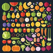 Fruits and vegetables icons set. Modern flat design graphic art for web banners, websites, infographics. Whole and sliced vegetables and fruit icons. Vector illustration isolated on black background