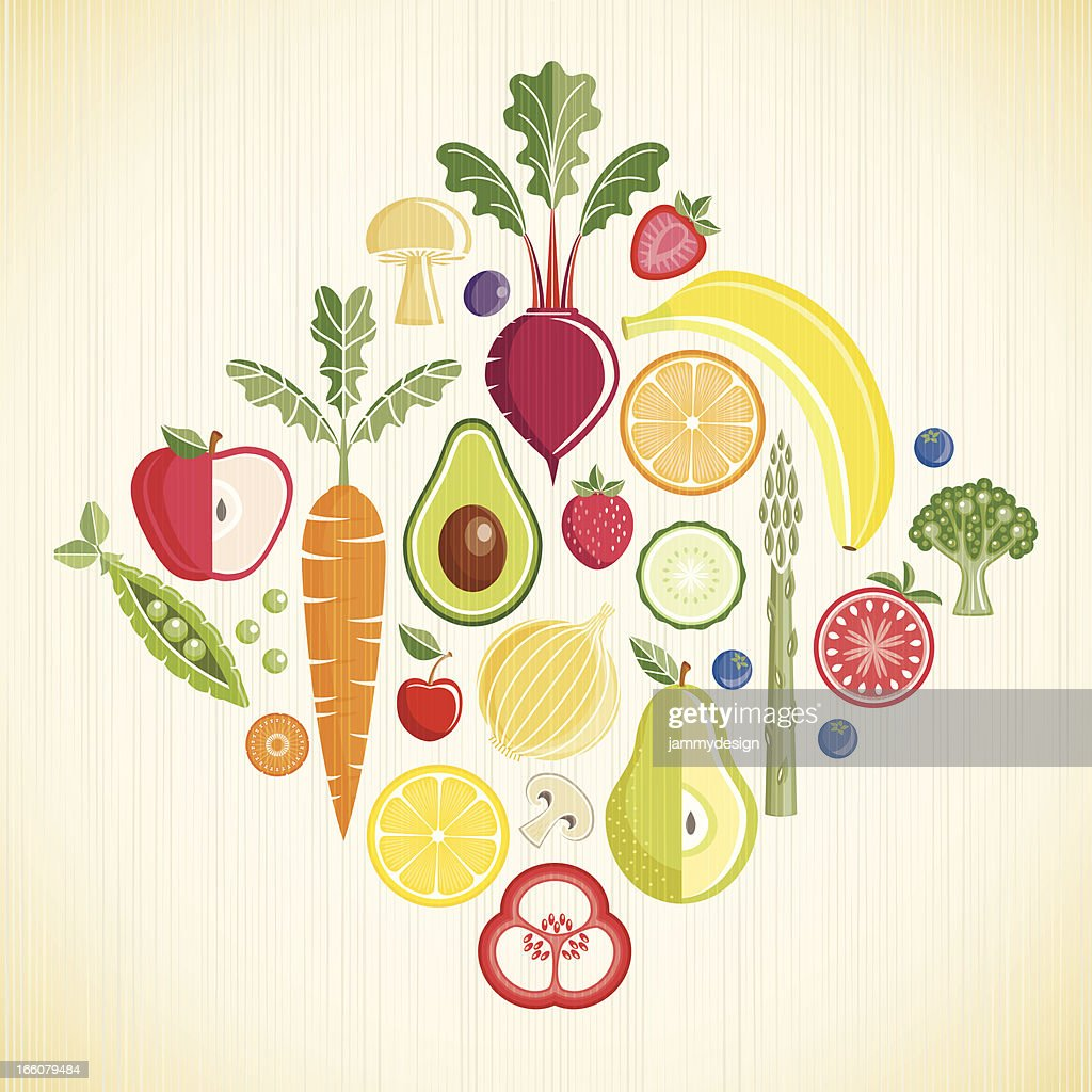 fruits and vegetables vector art getty images