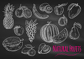 Fruits chalk sketch on blackboard. Isolated vector icons of exotic and tropical pineapple, orange, apple, melon, lemon, banana, grape, avocado, watermelon, kiwi, apricot peach mango pear plum