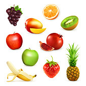 Fruits, set of vector illustrations, isolated on white background