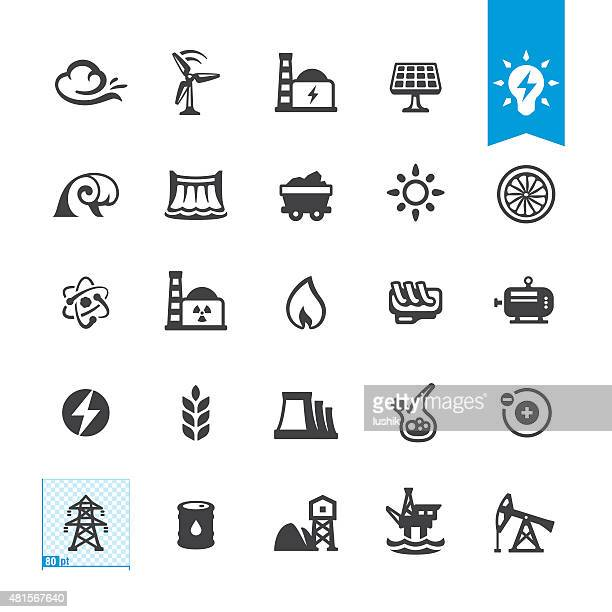 Fuel and Power Generation zugehörige Vektor-icons