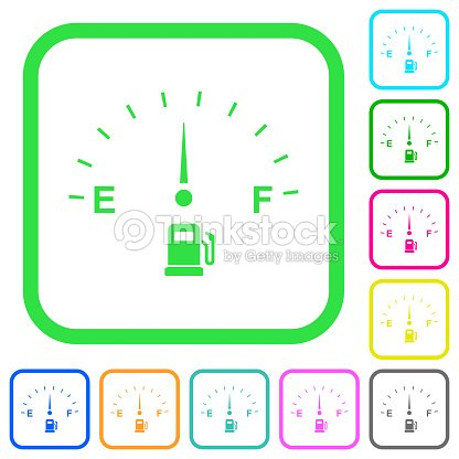 Fuel Gauge Vivid Colored Flat Icons stock vector | Thinkstock