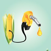 vector concept illustration of nozzle and hose using bio fuel from corn, eps8 file, raster version available