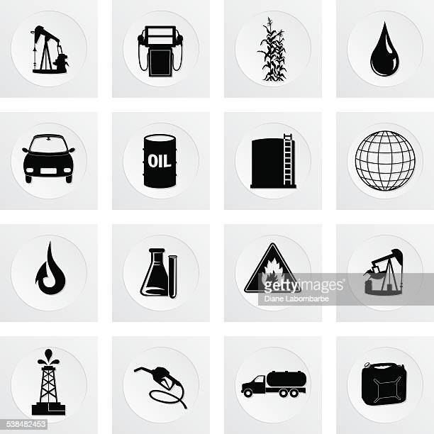 Fuel Oil Industry Round Icon Set