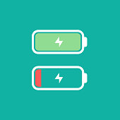 Full and low battery level concept. Vectro illustration icon. Simple flat design. Battery with thunder icon