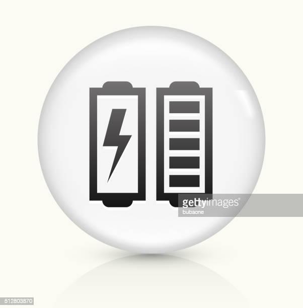 Batería completo icono sobre blanco, Vector de redondo botón