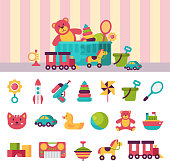 Full kid toys in boxes for kids play childhood babyroom container vector illustration. Cardboard children playroom