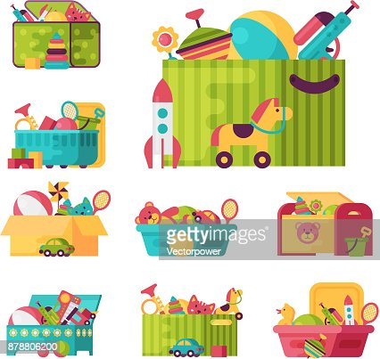 Full kid toys in boxes for kids play childhood babyroom container vector illustration : stock vector