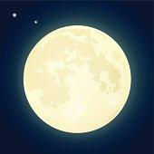 Illustration of a full moon on a dark blue sky