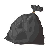 Full refuse plastic sack cartoon icon. Plastic trash bag on a white background