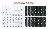 Full set of white and black dominoes isolated on white. Complete double-six set. Flat illustration