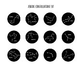 Full set of zodiac constellation signs made of stars and lines. Vector illustration.