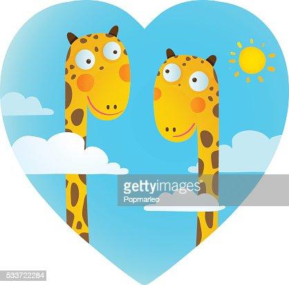Divertidos Dibujos Animados De Animales Bebe Con Jirafa En Amor Para