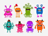 Fun cute cartoon monsters. Set icon vector illustration