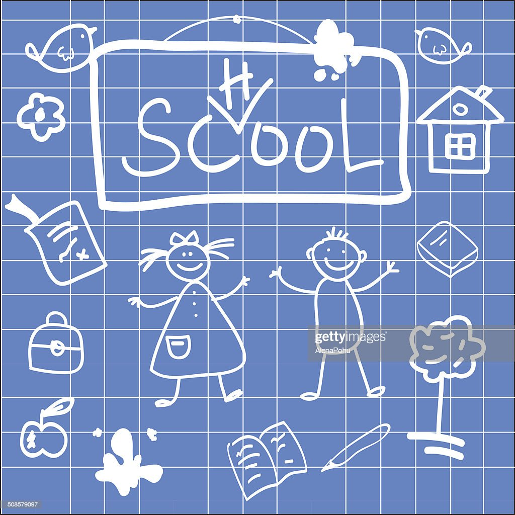 Fun vector illustration of back to school sketch : Vector Art