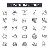 Functions line icons for web and mobile. Editable stroke signs. Functions  outline concept illustrations