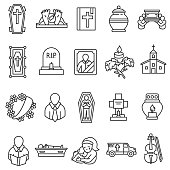 funeral icons set. funeral ceremony and paraphernalia collection. Thin line design