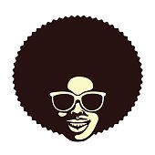 Funky cool african man with afro hairstyle and sunglasses vector illustration