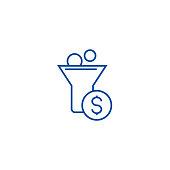 Funnel profit, marketing conversion line concept icon. Funnel profit, marketing conversion flat  vector website sign, outline symbol, illustration.