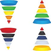 Collection of Sales Funnels and Marketing Pyramids - Vector design elements