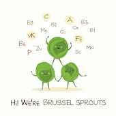 Illustration with funny character. Funny and healthy food. Vitamins contained in brussel sprout. Food with cute face. Vector cartoon.