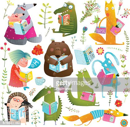 Funny Animal Kids Studying Reading Books Collection : Vector Art