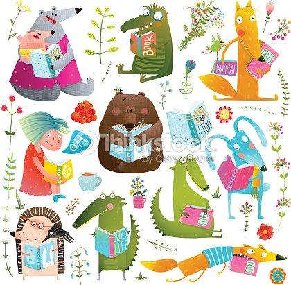 面白い動物子供勉強読書書籍コレクション : ベクトルアート